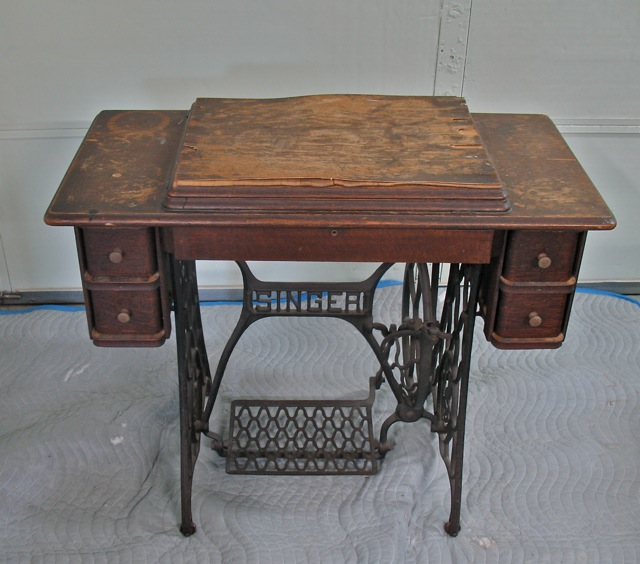 antique sewing machine table, bad finish - Furniture Repair, Restoration, Reupholstering In Appleton Wisconsin